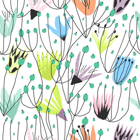 Vector funny floral print for paper design, cover, textile seamless pattern Vettoriali