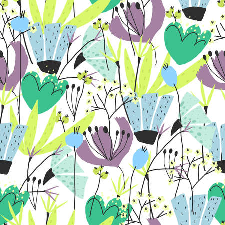 Vector floral print for paper design, cover, textile seamless pattern