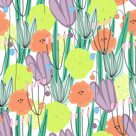 Floral print for paper design, cover, textile print. Vector seamless pattern
