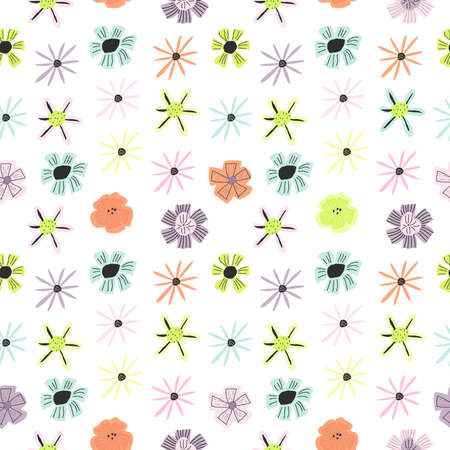 Colorful funny floral print for paper design, cover, textile