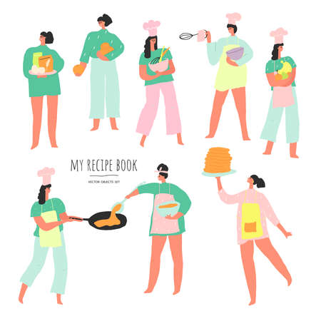 Stylized women with food and kitchen utensils. Vector people set