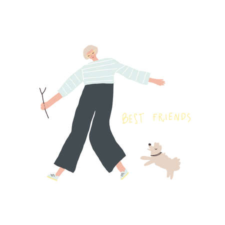 Woman playing with the dog. Old people activity. Vector illustration Vettoriali
