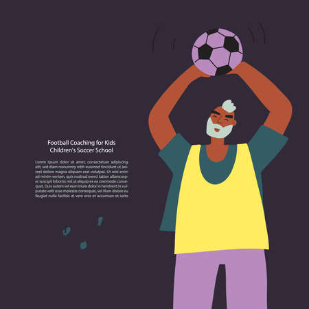 Stylized funny football player with a ball. Vector illustration