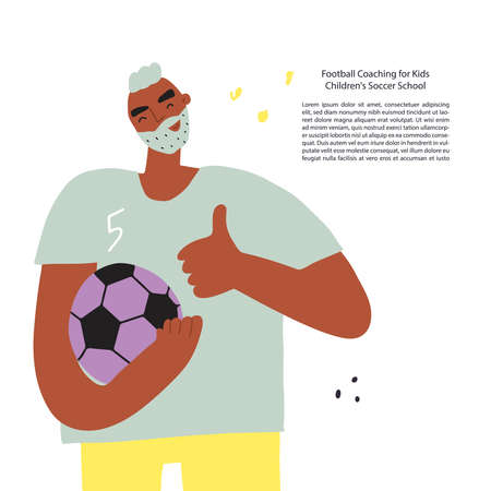 Stylized funny soccer with a ball. Vector illustration