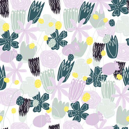 Funny floral vector seamless pattern Vettoriali