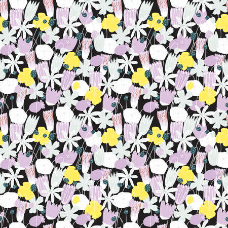Colorful vector funny floral seamless pattern