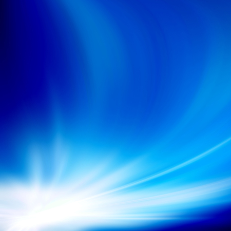 cloudless: Blue sky with glaring sun. Abstract background, asymmetric light burst with the center in the upper left third.
