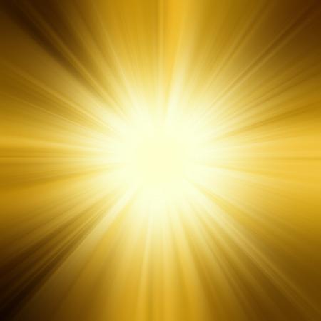 太陽のオレンジ色の黄色と光線の背景