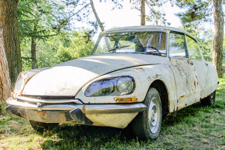 rusty car: Rusty vintage car. Old-timer wreck Stock Photo