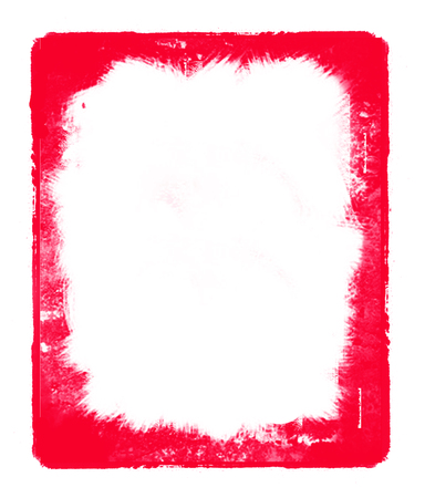 Red ink square frame isolated on the white background