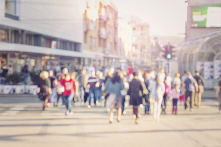 blur abstract people background unrecognizable silhouettes of people walking on a street Stok Fotoğraf