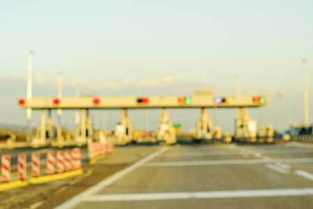 Blurred Highway Toll Payment Gate Without Cars Stok Fotoğraf