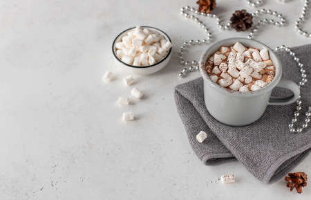 hot chocolate milk with marshmallows and holiday decoration on a light background. Holiday concept with copy space. Zdjęcie Seryjne