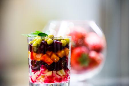 russian salad: Russian salad vinaigrette in a glass
