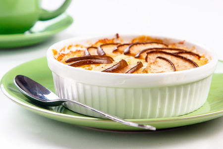 cottage cheese: Cottage cheese pie with pears Stock Photo