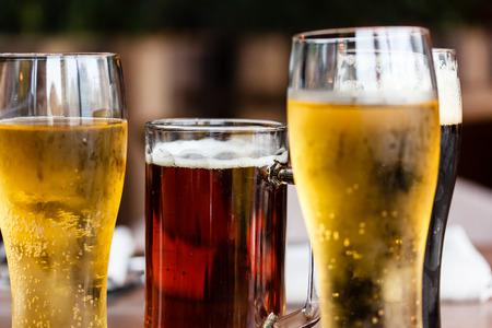 グラスでビール。 写真素材