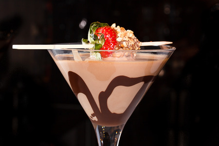 liqueurs: coffee cocktail with strawberries