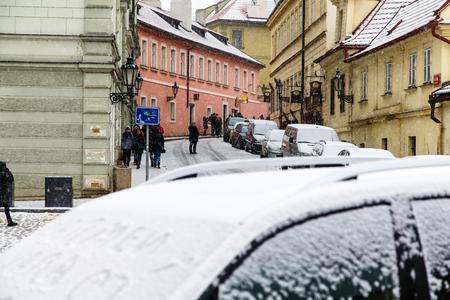 snowfall: Heavy snowfall in Prague.