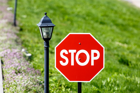 octagon: Stop sign is a red octagon on background of grass and rivers