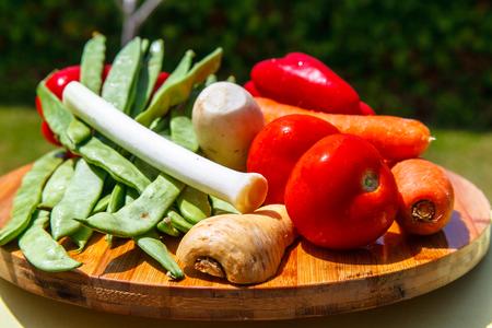 Set of vegetables ( tomatoes, leeks, celery, root vegetables) for making soup.