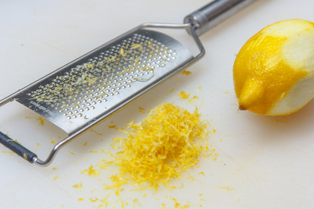 lemon peel removed with a cheese grater