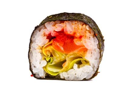 sake: Japanese roll rice, nori, salad, cheese, salmon . Close-up on white background. Foto de archivo