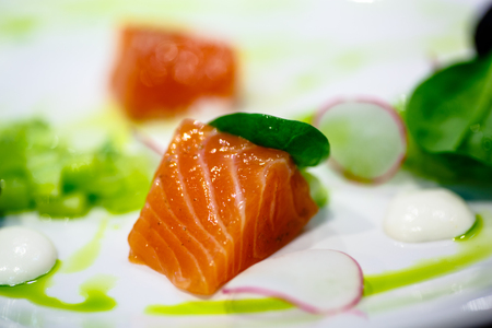 Slice salted salmon is on the plate of cucumber and radish. Macro.