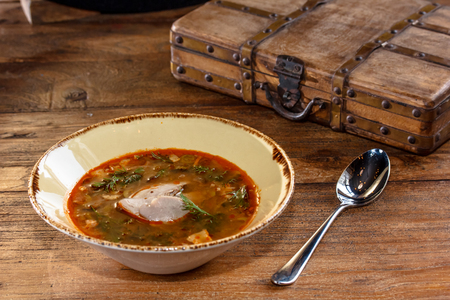 solyanka: Thick vegetable soup with meat poured into a bowl. A traditional dish of Russian cuisine - Solyanka.
