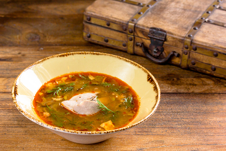 soljanka: Thick vegetable soup with meat poured into a bowl. A traditional dish of Russian cuisine - Solyanka.