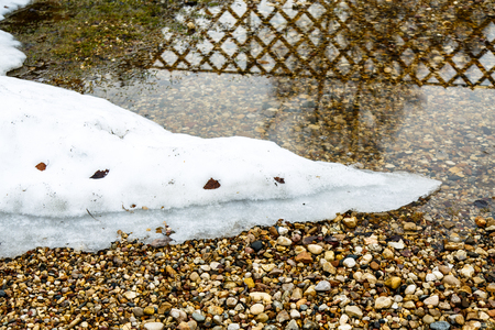 The snow is melting on the banks of puddles. The bottom of colored pebbles in a shallow puddle.