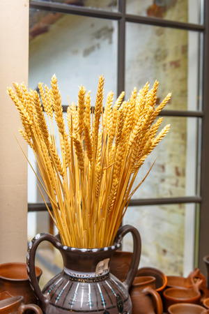 Rye spikelets on the background of old Windows