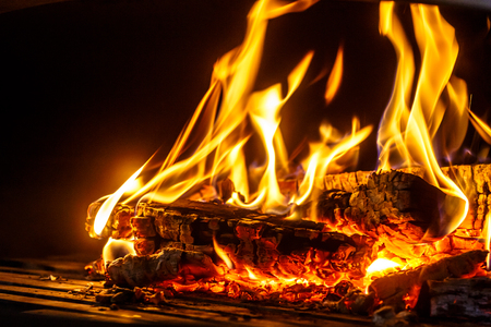 The wood burning in the fireplace Stock Photo