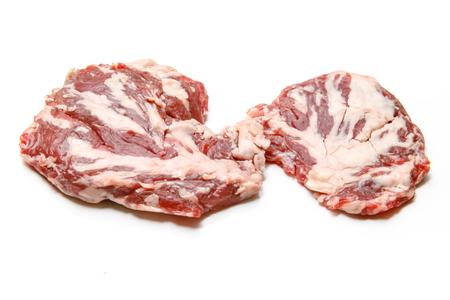 Spider steak or bifteck araignée of marbled beef on white background. Stok Fotoğraf