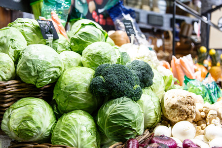 Cabbage, broccoli and other vegetables are on the market.