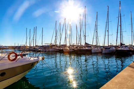 Many yachts in the Marina on a Sunny day.