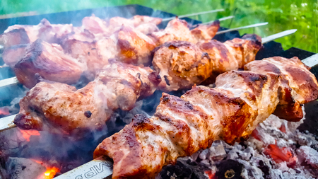 Skewers roasted on the grill with the coals on the outdoors