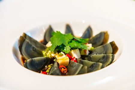 Chinese cuisine. Black (centenary, Imperial) Chinese eggs . Banco de Imagens