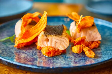 Slices of grilled salmon with carrot chips and sauce Archivio Fotografico - 129477252