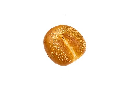 Round buns with sesame seeds isolated on white