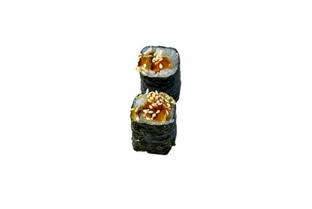 Roll with salmon rice and avocado in nori. Isolated