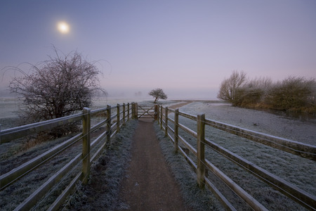 floodplain: View of Port Meadow floodplain just out of the city of Oxford on a foggy winter morning  Stock Photo
