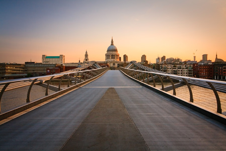 st paul s cathedral: St  Paul s cathedral and Millennium footbridge, London