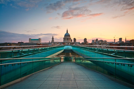 millennium bridge: St  Paul s cathedral and Millennium bridge, London