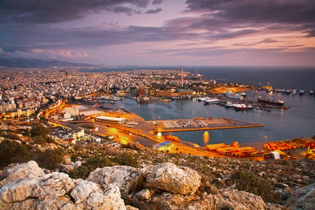 foothills: View of Piraeus harbour in Athens from the foothills of Aegaleo mountains, Greece