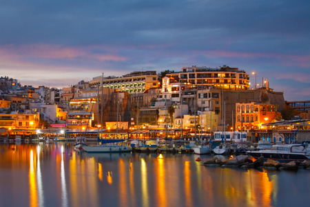 Evening scenery in the Mikrolimano marina with many restaurants on the seafront, Athens   photo
