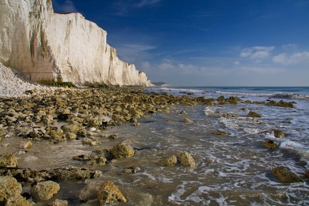 seven sisters: White chalk cliffs at Seven Sisters, England  Stock Photo
