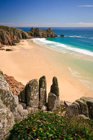 porthcurno: Porthcurno beach in Cornwall, UK  Stock Photo