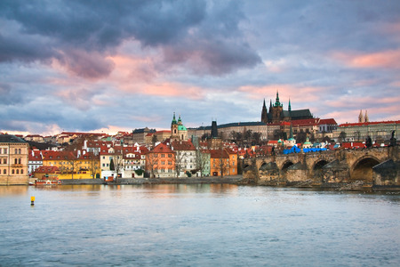 View of some of the main tourist attractions of Prague including Charles Bridge, Prague castle and cathedral