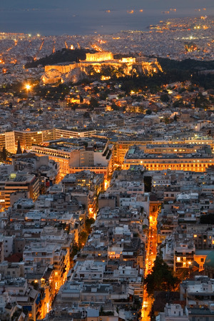Acropolis as seen from Likabetus Hill, Athens  photo
