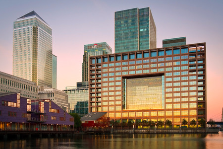 View of the Canary Wharf over the South Dock, London